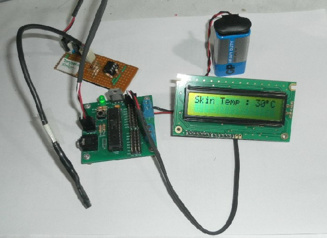 Skin Temperature Sensor with M28 PICAXE & LCD connection